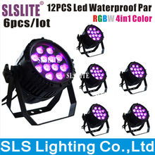 6PCS/LOT 12pcs 12w Outdoor par led, led par 64 rgbw , dmx stage lighting 4 in 1 rgbw outdoor led par 10w 12pcs led par light