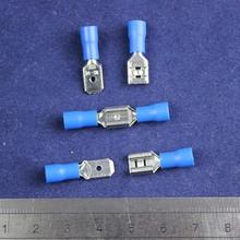 30pair Vinyl Female/ Male Crimp Wire Terminal Blue 16-14 Ga AWG Quick Disconnect Connectors/For 6.3mm