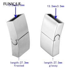 FUNIQUE 1PC Frosted / Glossy High Quality Stainless Steel Plain Magnetic Lock Clasp For Leather Bracelet DIY Jewelry Findings