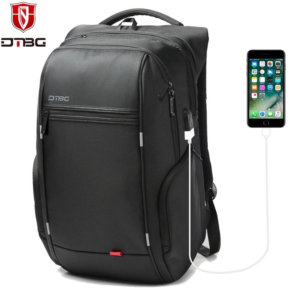 DTBG 15.6 17.3 Inch Laptop Backpack Fashion Men Travel Anti theft Bag USB Charge Port Waterproof  Nylon Daypack Schoolbag Black <br>