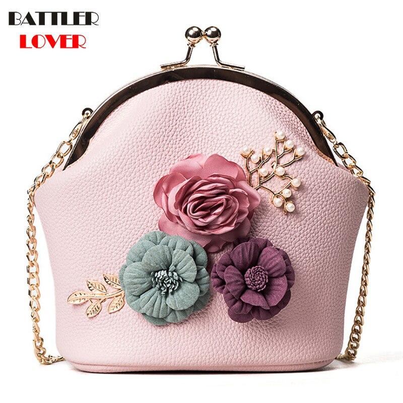Flower Shell Bags for Women 2019 Bags Women Handbag Bolsa Feminina Shoulder Messenger Bag Luxury Pearl Handbags Women Bag Design
