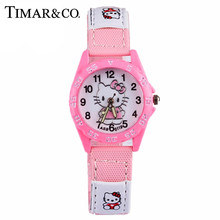 Cartoon Hello Kitty Watch Girl Hours Children Gift Quartz Baby Wrist Watch Kids Child Brand Clock Silicone Relogio Montre Enfant(China)
