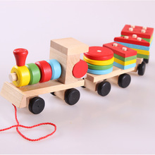 Wooden Model Building Kit Train Puzzles Toys Stacking Shape Geometry Train Set  Combination Educational Toys For Kids