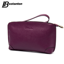 BOSTANTEN High Capacity Fashion Women Wallets Long Genuine Leather Wallet Female Zipper Clutch Coin Purse Cell Phone Wristlet(China)