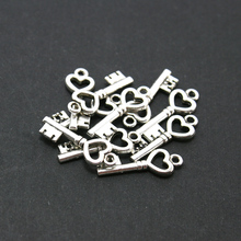 Hot Selling 7*20mm 10pcs/lot Antique Silver Plated Key Alloy Charms Pendant Jewelry Findings for DIY Fashion Gift Necklace