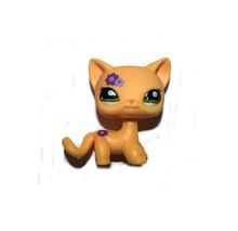Pet Shop Animal Purple Flower Yellow Short Hair Cat Loose Figure(China)