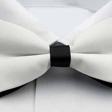 Hot Official White with Black Bottom Splicing Double-layered Design Bow Tie For Men(China)