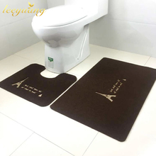 Excellent Quality 2pcs Soft Flannel Embroidery Tower Pedestal Rug Lid Toilet Cover Non-slip Bath Mat Carpet Bathroom Tool