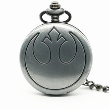 New Antique Grey Star War Quartz Pocket Watch Necklace Pendant Christmas Gift Clock