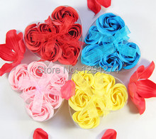 Hot 6pcs Scented Rose Flower Petal  Body Bath Soap Gift Wedding Favor Heart Box  6922 XdPAk