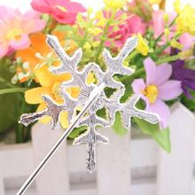 1pc Crystal Cake Topper with Rhinestone Snowflake Shape Design Topper Pick Stick for Cake Decorating