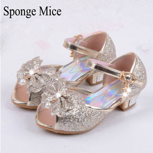 sponge mice Enfants 2017 Children Princess Sandals Kids Girls Wedding Shoes High Heels Dress Shoes Party Shoes Pink Blue Gold
