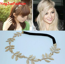 YingJueFashion 20pcs Gold Leaf Headband Women Girls Alloy Leave Grecian Garland Forehead Hair band Headband Gold Olive Branch