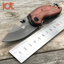 LDT X48 X44 X65 Tactical Folding Knife 5Cr18Mov Blade Rose Wood Handle Camping Knives Hunting Survival Pocket Knife Tools EDC(China)