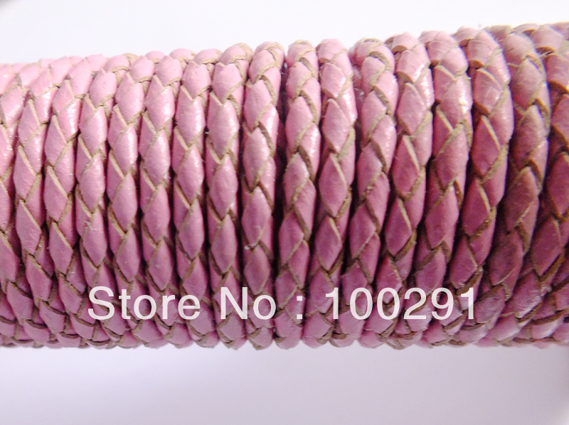 Free shipping !!!  PINK Weave  Leather Jewelry Strings Cord 3mm DIY NECKLACE BRACELET Braided Bolo