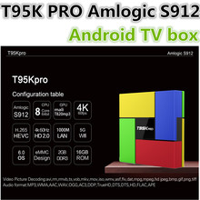 T95K PRO Amlogic S912 Android TV box Octa Core cortex-A53 KODI Dual Band WIFI Bluetooth 4.0 UHD 4K H.265 VP9 HDR 3D Media Player