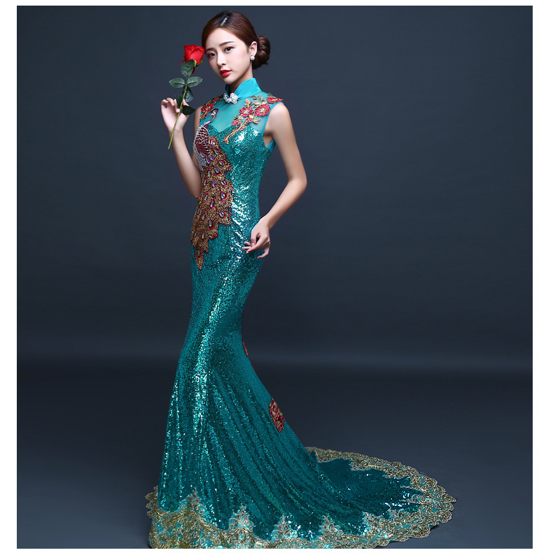 Embroidery Cheongsam Long Chinese Oriental Evening Dress Elegant Princess Dresses Red Qipao Wedding Summer Women Sexy Flowers