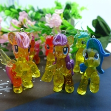 50*36mm  12pcs Kawaii yellow Pony figurine, PVC Pink Toy Crafts Cabochon Doll ornaments Keychain Accessories