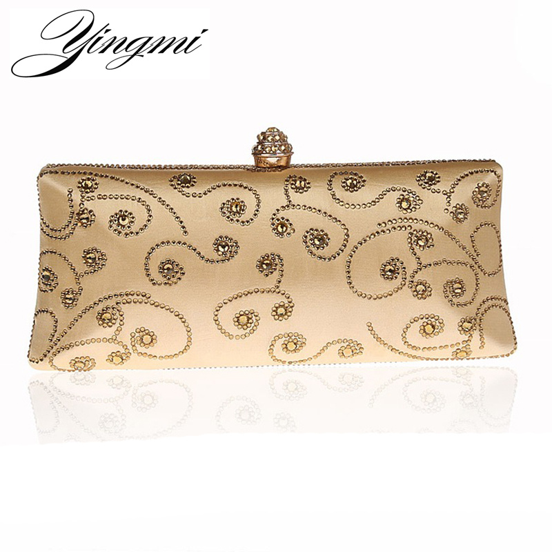 YINGMI New Arrivla Long Luxurious Women Evening Bags Diamonds Chain Shoulder Day Clutch Mixed Color Rhinestones Handbags<br>
