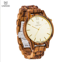 UWOOD-1002 Fashionable Men Male Wood Strap Wrist Watch Durable Round Shape Quartz Wrist Watch Best Birthday Gifts Hot!