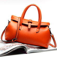 2017 Real Sale Women Polyester Zipper Shoulder Bags Two Solid Ms Leather Handbag Import Brand Head Layer Cowhide Bag Shoulder