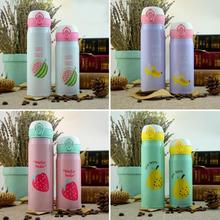 Creative fruit Bounce Cover Thermos Mug Travel Cup cute stainless steel student cups bottle s5