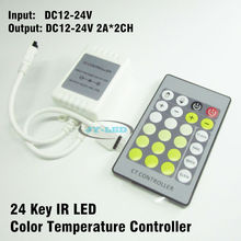 10 Set/lot 24 Key DC12-24V CT Controller, Color Temperature Controller With IR Remote For 5050 Double Colour Chip LED Strip