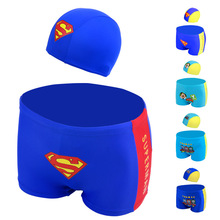 2017 Baby Boys Trunks with Hat Two Pieces Set Kids Beach Swimwear Cartoon Bathing Suit For Children Boy Briefs Shorts