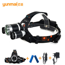 XM-L 3*T6+2R T6 Headlamps  6000 lumen Rechargeable LED  Headlight Outdoor Camp Lamp Head Torch+Ac/CAR Charger+18650 Battery