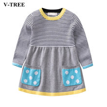 Winter Girls Dress Sweater Dresses Girl Kids Knit Clothing Long Sleeve Children Princess Dress Baby School Costume