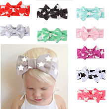 New Style Print Stars Knotted Headbands For Infant Toddler Baby Children Turban Bow Headwrap Hair Accessories(China)