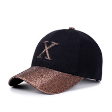 1Piece Baseball Cap Women Sports leisure hats X patch embroidery sport cap for men and women with shining visor