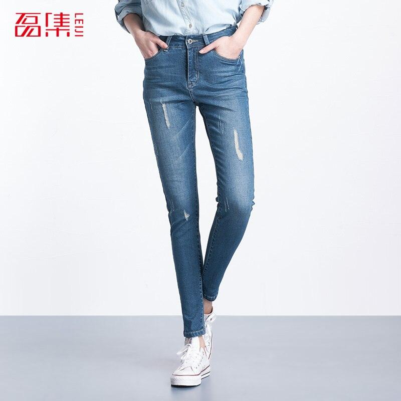 Plus Size 2017 Leiji Fashion Women Elastic Ripped Blue Denim Jeans Pencil Casual Skinny Pants Mid Waist Women TrousersÎäåæäà è àêñåññóàðû<br><br>