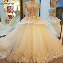 LS89430 robe de mariage 2017 luxe ball gown corset back champagne wedding gown 2017 with colorful lace bruidsjurken real photos(China)