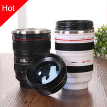 New SLR Camera Coffee Mug, Stainless Steel insulation Teacup,Beer mug Black Plastic Cup,Creative Cups And Mugs With Lid(China)