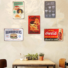 Metal Tin Signs Hamburgers Cake Hot Dogs Coke House Coffee Cafe Shop Office Restaurant Bar iron Paintings