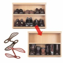 20*2.5*11cm Z Shape Brown Shoes Rack Organizer Space Saver Ventilated Design Shoes Organization Storage Racks