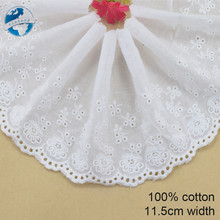 Buy 11.5cm white 100% cotton embroidery lace french lace ribbon fabric guipure diy trims warp knitting sewing Accessories#3300 for $1.45 in AliExpress store
