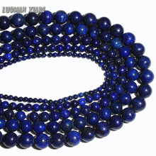 Wholesale Natural Stone Beads For Jewelry Making Dye Lapis Lazuli Diy Bracelet Necklace 4mm 6mm 8mm 10mm 12mm Strand 15''