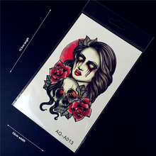 1PC Hot Halloween Makeup Flash Temporary Tattoo Stickers Women Ghost Skull Blood Eye Rose Design Waterproof Arm back Tattoo HQ13