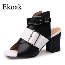 Ekoak New 2018 Summer Shoes Woman Fashion Women Sandals Ladies Mules High Heels Shoes Gladiator Girls Sandals Women Party Shoes(China)