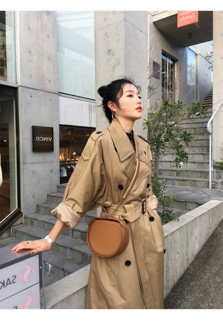 khaki Trench Coat Casual women's long Outerwear loose clothes for lady with belt spring autumn fashion high quality army green 13