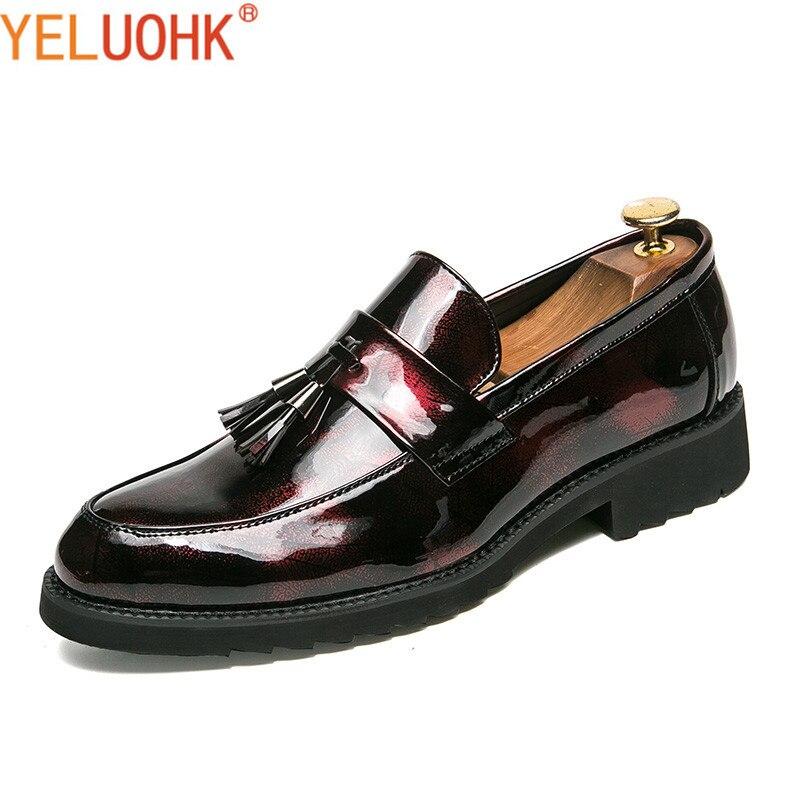 Patent Leather Men Shoes Casual Moccasins Men Loafers Fringe Men Leather Shoes<br>