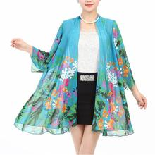 New middle age Women chiffon sunscreen clothing fashion print loose long sleeve shawl coat tops casual for ladies/female s432
