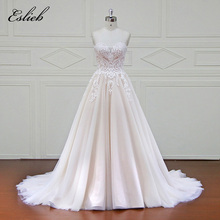 Buy Elegant Sweet Heart lace Wedding Dress Soft Tulle Court Tail Draped Line Bridal Gown Custom Size Shoulder Sweet Gown for $518.00 in AliExpress store