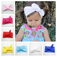 Newborn Bow Knot Cotton Solid Color Headband Fashion Cute Kids Rabbit Ear Elastic Headband Headwrap Hair Band Accessories(China)