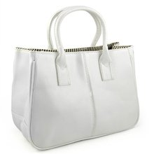 Ladies Class PU Leather Satchels Tote Purse Bag Handbag - White