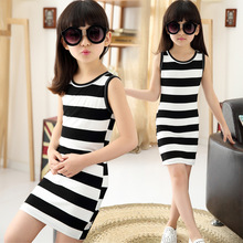 Girls Black and White Striped Dress 2017 Summer Cotton Sundresses Fashion Children Clothing Kids Vest Dresses for Teenage Girls