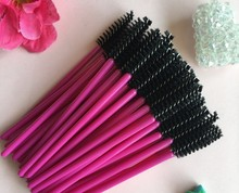 100pcs make up brush synthetic fiber Disposable Eyelash Brush Mascara Cosmetic Makeup Tool Red brush bar black brush head(China)
