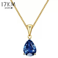 17KM Buy one Get one Free/ Fashion Crystal Water Drop Necklace for Women 7 Colors Wedding Statement Jewelry Maxi Punk Choker(China)